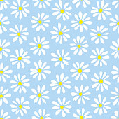 Minimal cute hand-painted daisies on sky blue background vector seamless patters. Spring summer graphic print. Perfect for textiles, stationery