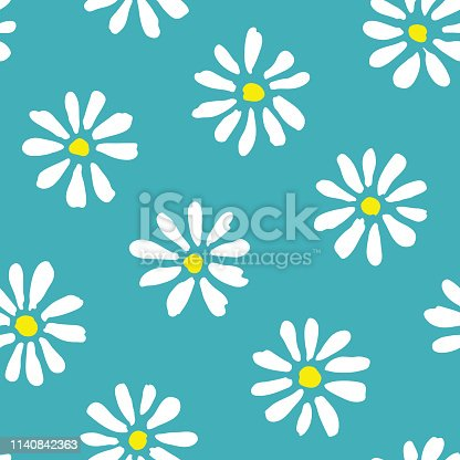 Minimal cute hand-painted large daisies on teal background vector seamless patters. Spring summer graphic print. Perfect for textiles, stationery