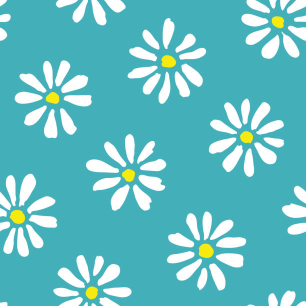 Minimal cute hand-painted daisies on teal background vector seamless patters. Spring summer floral print Minimal cute hand-painted large daisies on teal background vector seamless patters. Spring summer graphic print. Perfect for textiles, stationery daisy stock illustrations