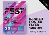 Minimal DJ Poster for Open Air. Electronic Music Cover for Summer Fest or Club Party Flyer. Colorful Background with Trendy Geometric Shapes.