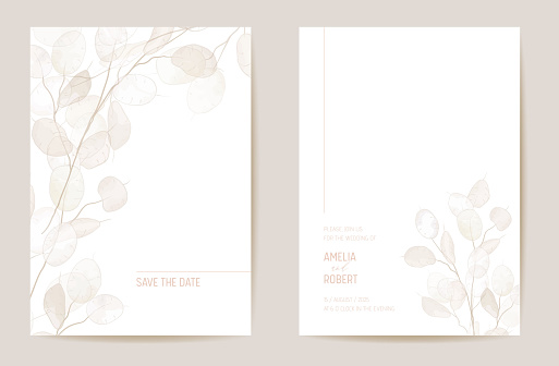 Minimal dried honesty flower invitation card. Wedding boho Save the Date set. Design template of dry flowers and leaves, blossom illustration. Vector trendy cover, pastel graphic poster, brochure