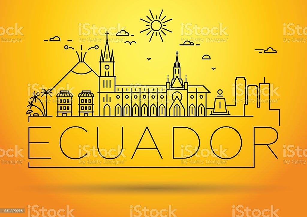 Minimal Ecuador Linear Skyline with Typographic Design vector art illustration
