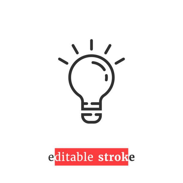 minimalna edytowalna ikona żarówki - natchnienie stock illustrations