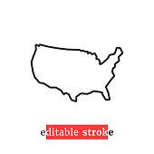 istock minimal editable stroke usa map icon 1280765154