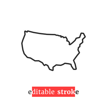 minimal editable stroke usa map icon. flat style modern graphic change line thickness design isolated on white background. concept of coastline of north america and part of global world