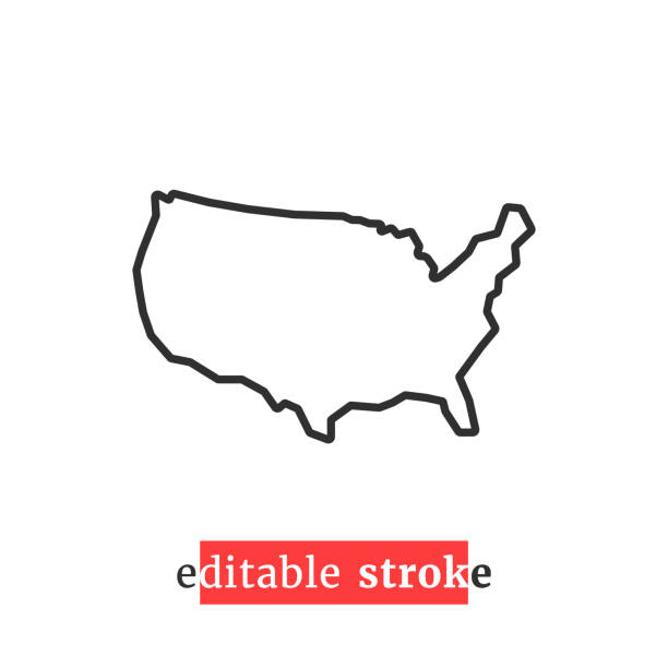 최소한의 편집 가능한 스트로크 미국 지도 아이콘 - 미국 stock illustrations