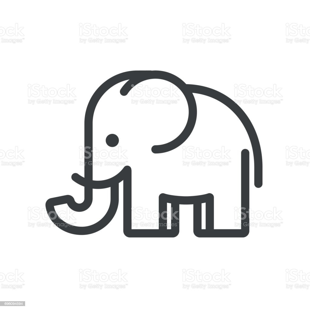 Minimal Elephant Stock Vector Art & More Images of ...