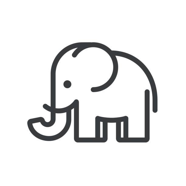 minimale elefant - elefantenkunst stock-grafiken, -clipart, -cartoons und -symbole