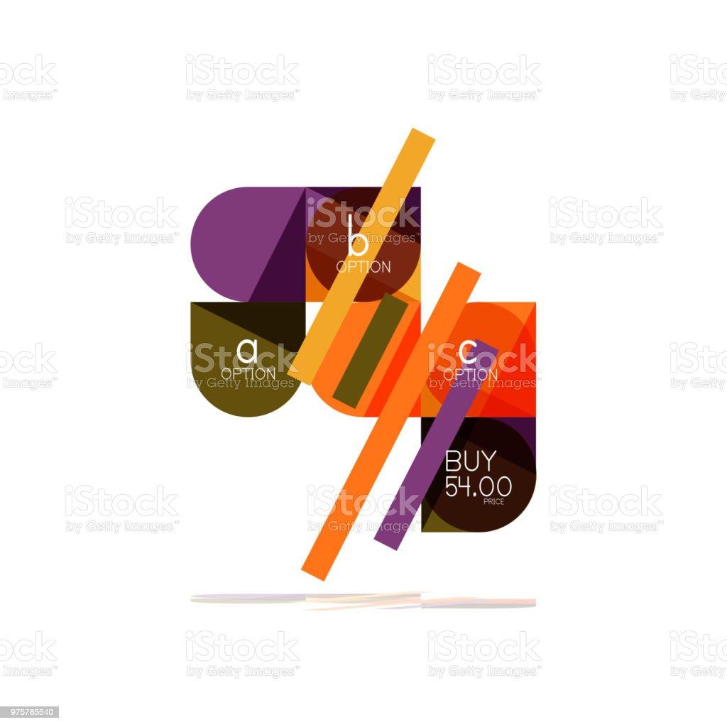 Minimale Wohnung sauber abstrakte Möglichkeit Schritt Infografik Gestaltungselement, geometrischen Formen - Runde Quadrate, Kreise und Linien Layout mit Beispieltext - Lizenzfrei Abstrakt Vektorgrafik