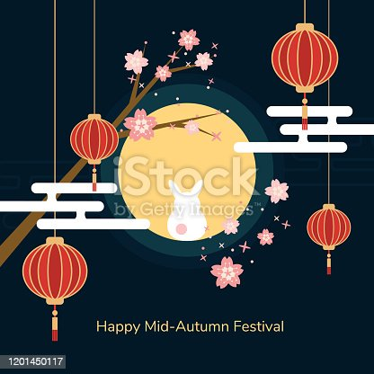 istock Minimal flat Happy mid-autumn festival poster in night scene with full moon rabbit red paper lantern and cheery blossom flowers 1201450117