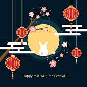 Minimal flat Happy mid-autumn festival poster in night scene with full moon rabbit red paper lantern and cheery blossom flowers vector