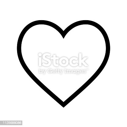 istock Minimal flat heart shape icon with thin black line on white background 1125688086