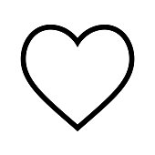 Minimal flat heart shape icon with thin black line on white background