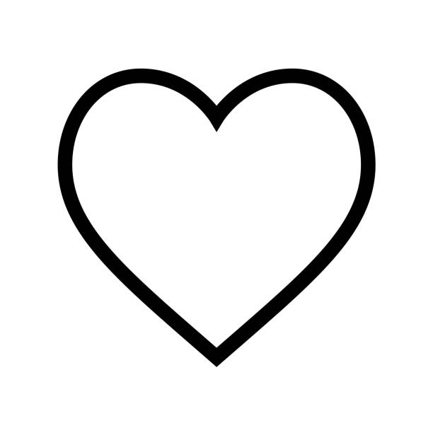 minimal flat heart shape icon with thin black line on white background - anniversary clipart stock illustrations