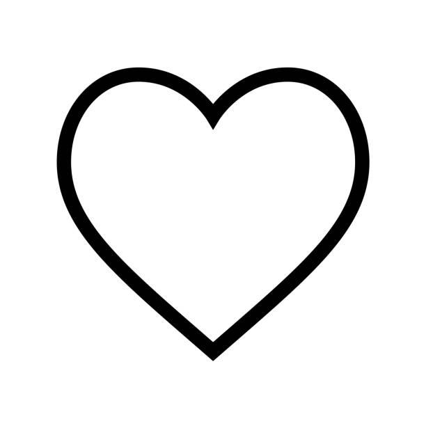 Minimal flat heart shape icon with thin black line on white background vector art illustration