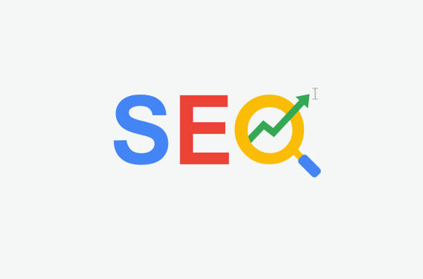 SEO (search engine optimization) minimal flat logo with magnifying glass, arrow and cursor symbol. multi color design. SEO (search engine optimization) minimal flat logo with magnifying glass, arrow and cursor symbol. multi color design. seo stock illustrations