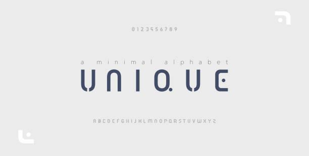 最小限のフォントクリエイティブモダンアルファベット。ドットレギュラーと番号を持つタイポグラフィ。ミニマリストスタイルのフォントセット。ベクトル図 - 大文字点のイラスト素材/クリップアート素材/マンガ素材/アイコン素材