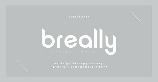 ilustrações, clipart, desenhos animados e ícones de alfabeto moderno criativo de fonte mínima. tipografia com regular de pontilhão e número. conjunto de fontes de estilo minimalista. ilustração vetorial - font