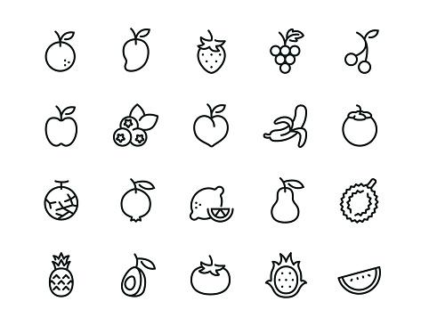 Minimal Fruit icon set - Editable stroke