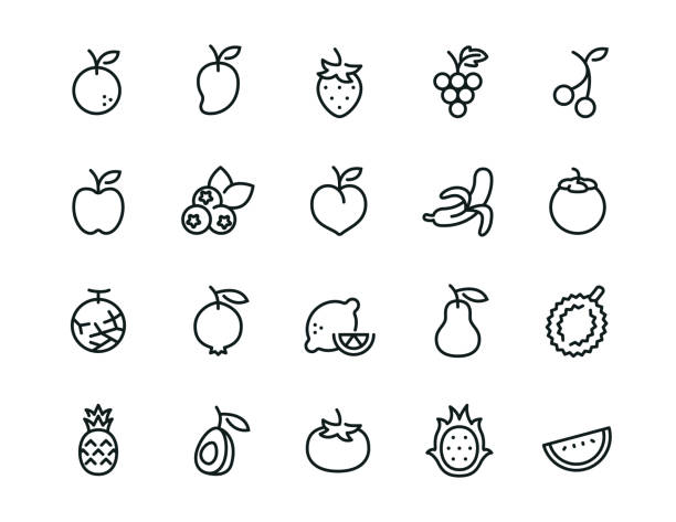 minimal fruit icon set - editierbarer strich - obst stock-grafiken, -clipart, -cartoons und -symbole