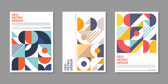 Minimal geometric posters with colorful patterns.