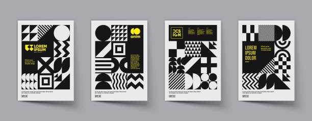 minimal geometric posters with monochrome patterns. - abstract architecture stock illustrations