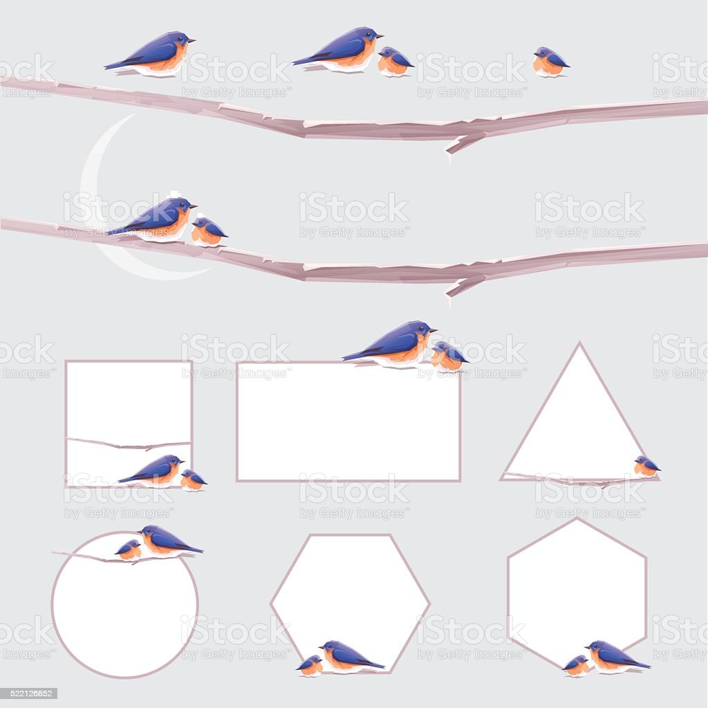 Minimal geometric vector page decoration borders and frames with bluebirds vector art illustration