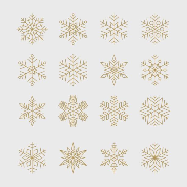 ilustraciones, imágenes clip art, dibujos animados e iconos de stock de copos de nieve de oro mínimo conjunto - snowflakes