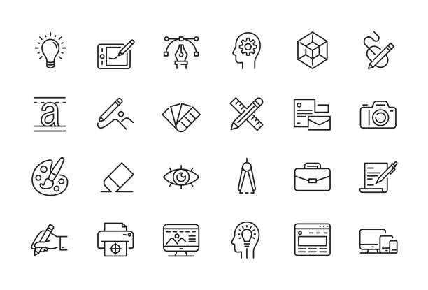 minimal graphic design related icon set - editable stroke - creative stock illustrations