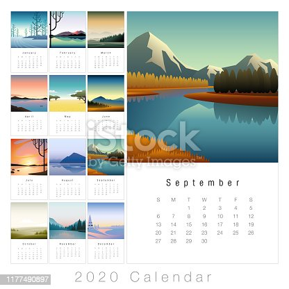 2020 monthly calendar with minimal landscape images.