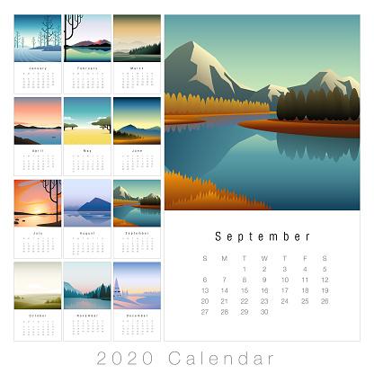 2020 minimal landscape calendar