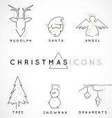 Minimal Line Christmas Illustrations with Sparkles