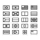 42×26 pixel world flags black and white icon set