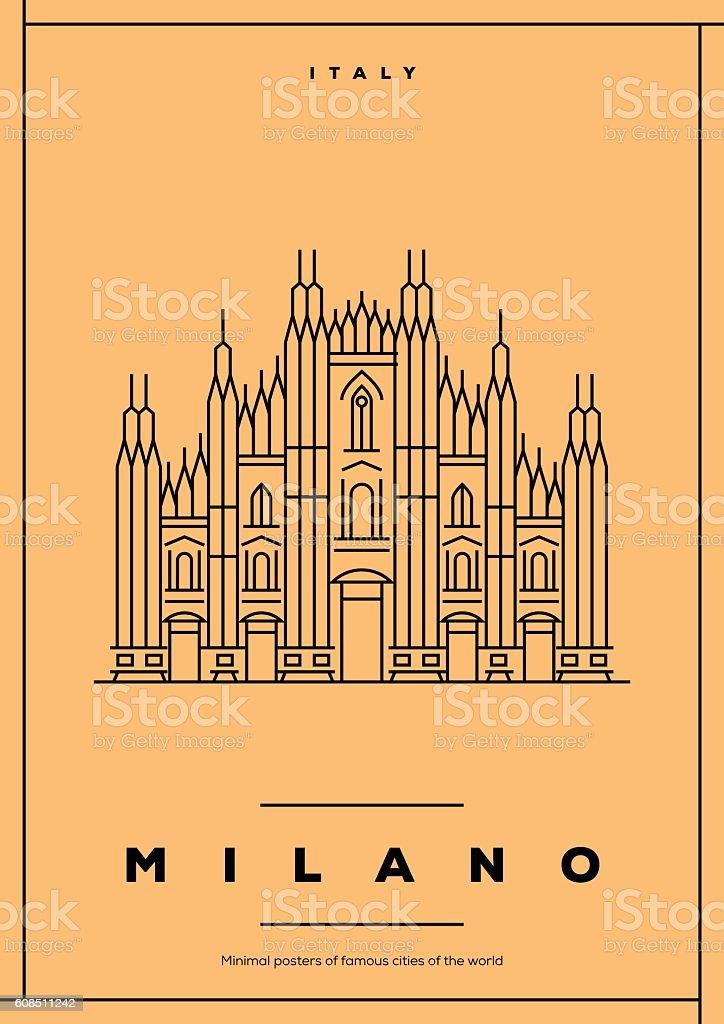 Minimal Milano City Poster Design