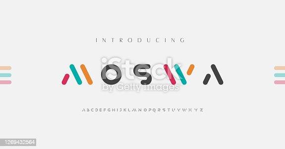 istock Minimal modern alphabet fonts. Typography minimalist urban digital fashion future creative logo font. vector illustration 1269432564