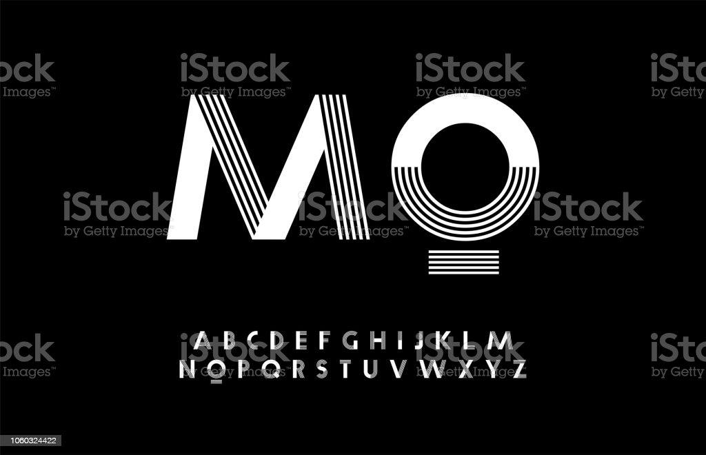 最小的現代字母。版式 trandy 字體大寫。向量插畫 - 免版稅商標圖庫向量圖形