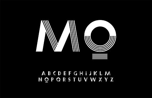 最小的現代字母版式 Trandy 字體大寫向量插畫向量圖形及更多商標圖片