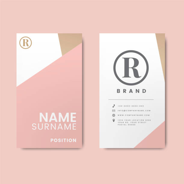 Minimal modern business card design featuring geometric elements vector art illustration