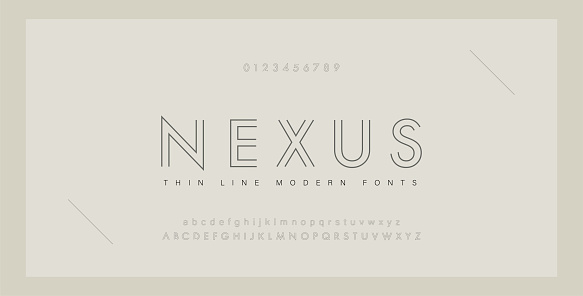 Minimal modern fonts and numbers. Abstract thin line font alphabet. Typography typeface uppercase lowercase and number. vector illustration