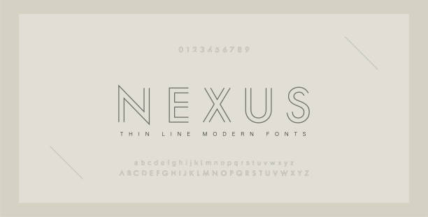 Minimal modern fonts and numbers. Abstract thin line font alphabet. Typography typeface uppercase lowercase and number. vector illustration Minimal modern fonts and numbers. Abstract thin line font alphabet. Typography typeface uppercase lowercase and number. vector illustration alphabet designs stock illustrations