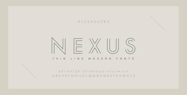 bildbanksillustrationer, clip art samt tecknat material och ikoner med minimala moderna typsnitt och siffror. abstrakt tunn linje typsnitt alfabetet. typografi typsnittet versaler gemener och nummer. vektor illustration - modern