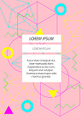 Minimal neon colorful geometric shapes abstract on pastel pink background
