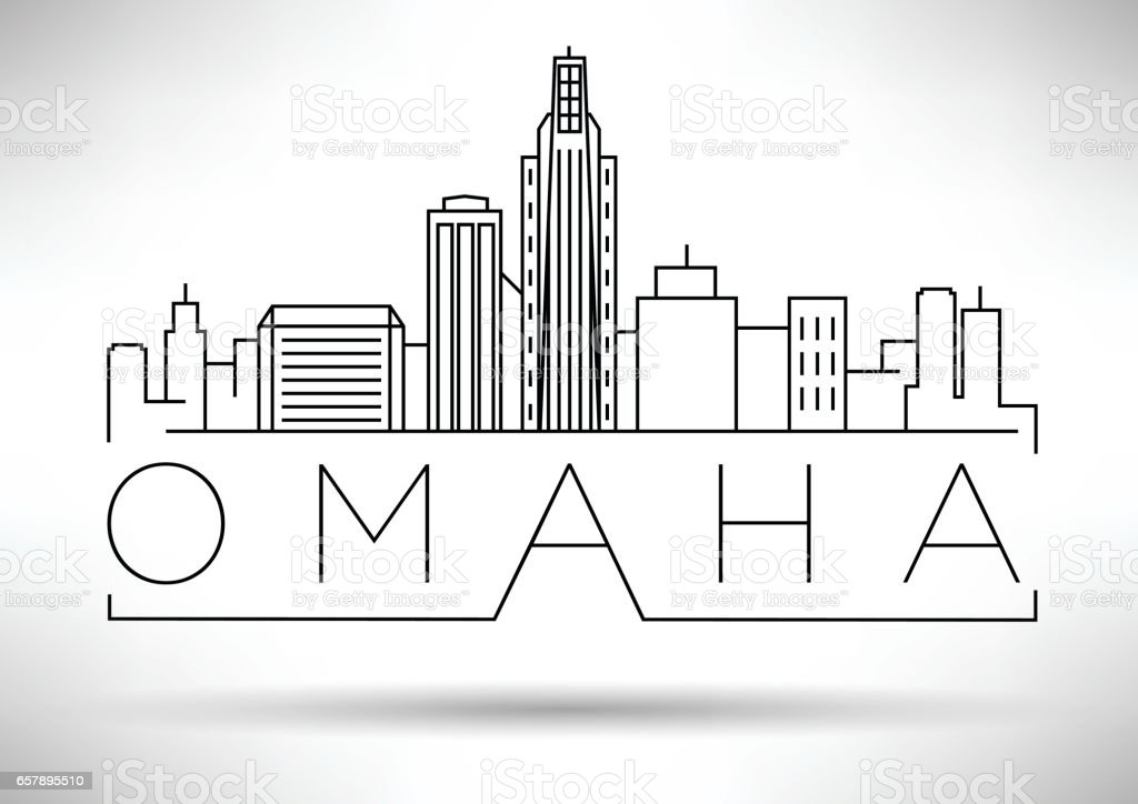 Minimal Omaha Linear City Skyline with Typographic Design vector art illustration