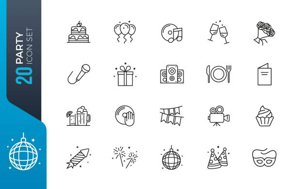 minimal party icon set Simple Set of Related Vector Line Icons. Contains such Icons as Bouquet of Flowers, Karaoke, Dj, Masquerade and more. champaign illinois stock illustrations
