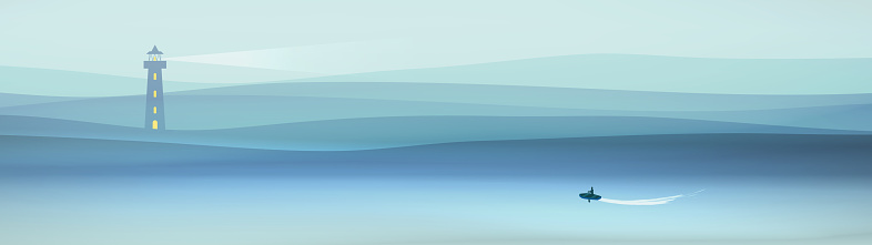 Minimal poster background with small boat
