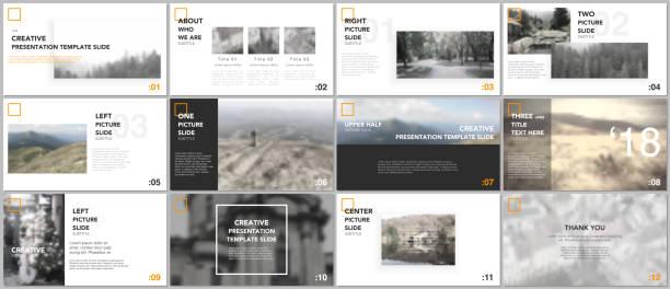 minimal presentation templates. simple geometric elements on white background for your portfolio template. brochure cover vector design. presentation slides for flyer, brochure, report, advertising - katalog stock illustrations