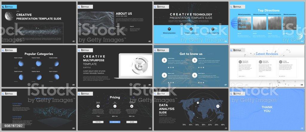 minimal presentation templates tech elements on black background