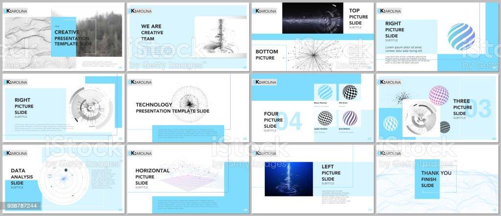 minimal presentation templates tech elements on white background