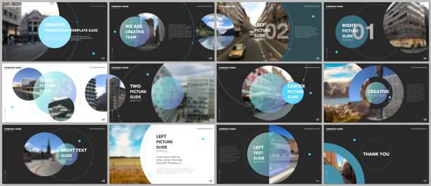 ilustrações, clipart, desenhos animados e ícones de projeto mínimo apresentações, modelos de vector portfólio com elementos de círculo sobre fundo preto. modelo multiuso para slide da apresentação, folheto panfleto, capa brochura, relatório, publicidade. - deslize