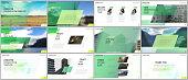 Minimal presentations design, portfolio vector templates with colorful gradient geometric background. Green design. Multipurpose template for presentation slide, flyer leaflet, brochure cover, report.
